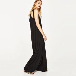 Zara Black High Neck Tie Maxi Dress